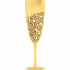 New Year Gold Glittered Champagne Glasses Jumbo Photo Props