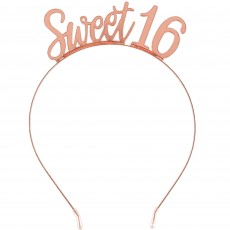 16th Birthday Party Supplies - Sweet Sixteen Blush Metal Headband