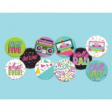 Awesome 80's Party Supplies - Button Badges