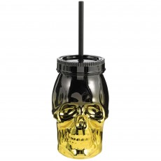 Halloween Gold & Black Straw & Metallic Skull Plastic Cup
