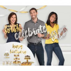 Happy Birthday Silver & Gold Themed Foil Cutout Photo Props