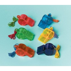 Multi Coloured Sports Whistle Favours Pack of 12