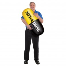 Over The Hill Construction Black, Yellow Shaped Balloon 38cm x 91cm Inflatable Pill Mega Dose