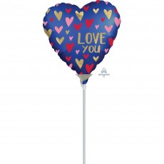 Love Satin Navy & Gold  Shaped Balloon