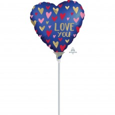 Heart Satin Navy & Gold Love You Shaped Balloon 10cm