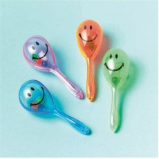 Mexican Fiesta Smile Maraca Favours 7cm Pack of 12