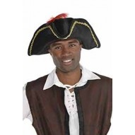 Pirate Black Bucaneer Feather Hat Costume Accessorie