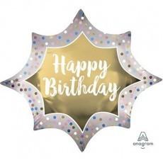 Happy Birthday Gold Satin Gold Burst SuperShape XL Shaped Balloon