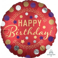 Happy Birthday Satin Red Party Standard XL Foil Balloon