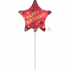 Happy Birthday Satin Red Shaped Balloon