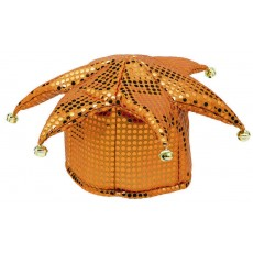 Orange Sequin Jester Hat Head Accessorie