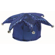Blue Sequin Jester Hat Head Accessorie