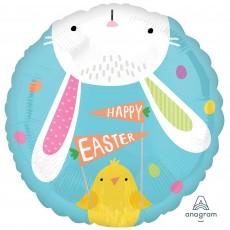 Round Standard HX Hello Bunny Happy Easter Foil Balloon 45cm