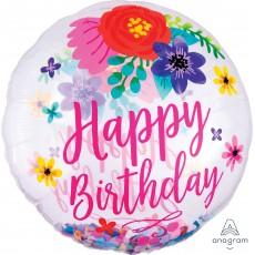 Happy Birthday Floral Fun Confetti SuperShape Shaped Balloon