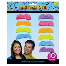 Totally 80's Neon Moustache Head Accessories