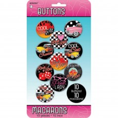 Rock n Roll Buttons / Badges Costume Accessories