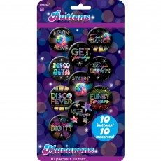 Disco & 70's Disco Fever Button Badges Costume Accessories