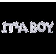 Silver Baby Shower - General CI: Script Phrase IT'S A BOY Shaped Balloon