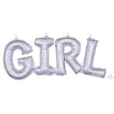 Baby Shower - General Silver CI: Script Phrase Shaped Balloon
