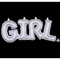 Silver Baby Shower - General CI: Script Phrase GIRL Shaped Balloon 55cm x 25cm