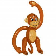 Jungle Animals Brown Inflatable Monkey Shaped Balloon