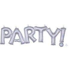 Silver CI: Script Party! Shaped Balloon 83cm x 22cm