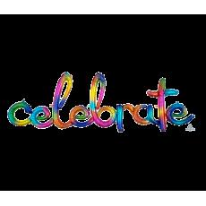Rainbow CI: Script Phrase celebrate  Splash Foil Balloon