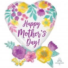 Heart SuperShape Watercolour Flowers Happy Mother's Day! Shaped Balloon 58cm x 76cm