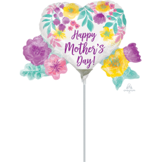 Heart Mini Watercolour Flowers Happy Mother's Day! Shaped Balloon