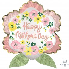 Flower SuperShape XL Satin Infused Happy Mother's Day Shaped Balloon 63cm x 68cm