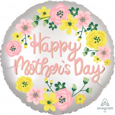 Round Standard XL Floral Satin Infused Happy Mother's Day Foil Balloon 45cm