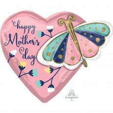 Heart Multi-Balloon XL Butterfly Happy Mother's Day Shaped Balloon 66cm x 60cm
