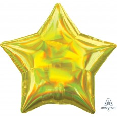 Yellow Iridescent Standard Holographic Shaped Balloon