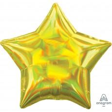 Star Iridescent Yellow Standard Holographic Shaped Balloon 45cm