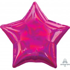 Star Iridescent Magenta Standard Holographic Shaped Balloon 45cm