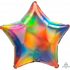 Rainbow Party Decorations - Star Shaped Balloon Standard Holographic
