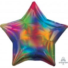 Star Standard Holographic Iridescent Rainbow Shaped Balloon 45cm