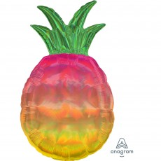 Hawaiian Luau SuperShape Holographic Iridescent Pineapple Shaped Balloon