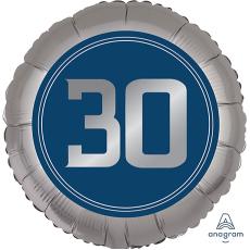 Round 30th Birthday Happy Birthday Man Foil Balloon 45cm