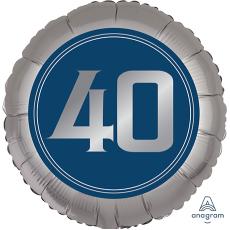Round 40th Birthday Happy Birthday Man Standard XL Foil Balloon 45cm