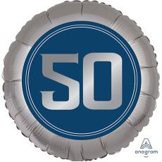 Round 50th Birthday Happy Birthday Man Standard XL Foil Balloon 45cm