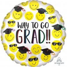 Graduation Standard HX Happy Faces Foil Balloon