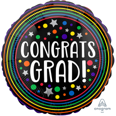 Graduation Standard HX Colourful Circles Foil Balloon