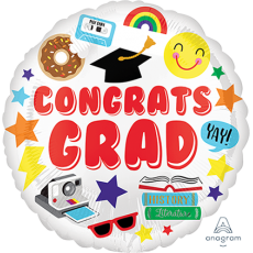 Graduation Standard HX Fun Icons Foil Balloon