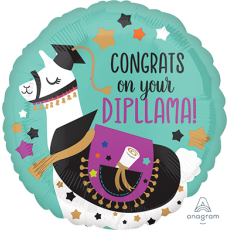 Round Graduation Standard HX Congrats on your DipLLama! Foil Balloon 45cm