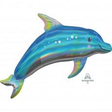 Hawaiian Luau SuperShape Holographic Iridescent Blue Dolphin Shaped Balloon