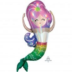 Mermaid Shine SuperShape Holographic Iridescent Mermaid Shaped Balloon 81cm x 104cm