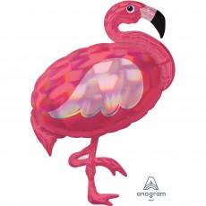 Hawaiian Party Decorations Iridescent Pink Flamingo Shaped Balloons