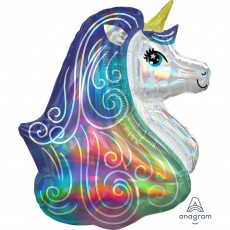 Unicorn Fantasy SuperShape Holographic Iridescent Unicorn Head Shaped Balloon