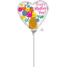 Heart Gold Vase Happy Mother's Day! Shaped Balloon 22cm